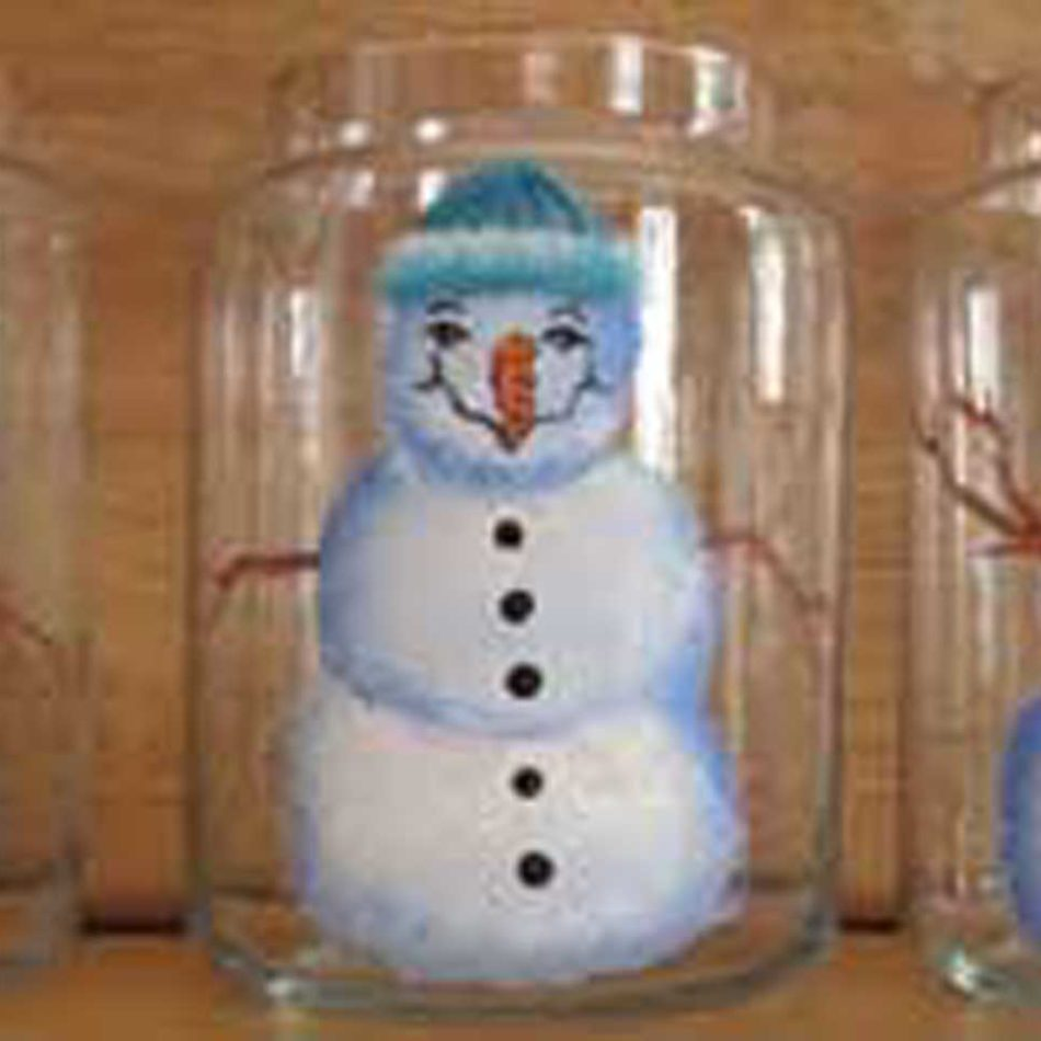 26 ounce candle Hand Painted Snowman