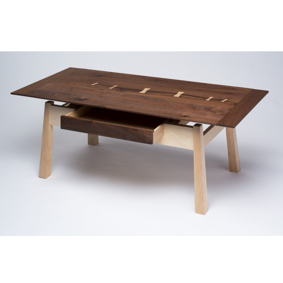 Artisan designed coffee table hand crafted from aged walnut and hard maple