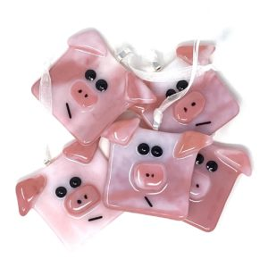 fused glass pig ornament