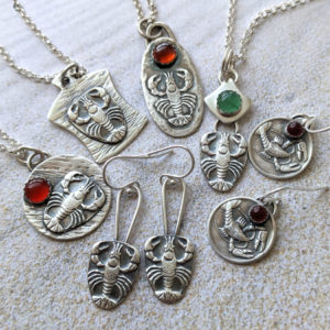 lobster earrings and necklaces